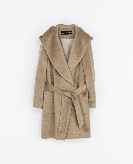 Oh my word, want this coat...BAD!!!!! BELTED COAT WITH HOOD from Zara
