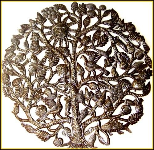 Metal Wall Hanging Tree Of Life Haitian Recycled Steel Drum Metal Wall Art