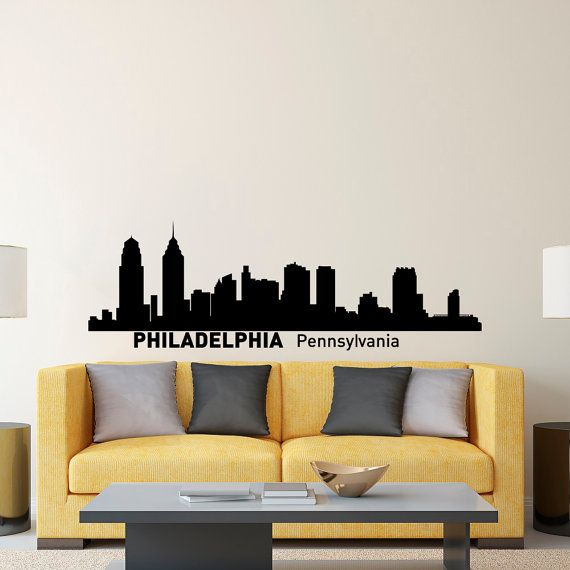 (home office) Philadelphia Skyline Wall Decal City Silhouette by FabWallDecals