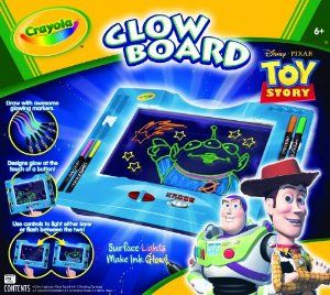 Crayola Toy Story Glow Board by Crayola. $14.99. Kids enjoy glow in the dark effects.. Reusable surface provides kids open-ended creative experiences.. Surface Lights Make Ink Glow!. Draw with awesome glowing markers!. Designs glow at the touch of a button!. From the Manufacturer                Crayola Toy Story Glow Board gives great 3D effects to drawings.                                    Product Description                Perfect for Toy Story fans, this Crayola Glow Bo...