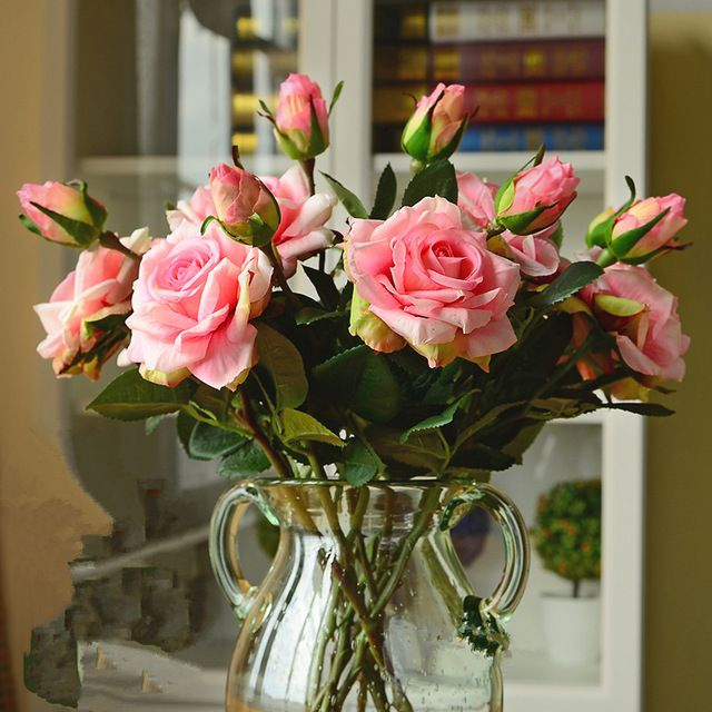 Real Touch Fake Bouquet Wedding Decoration Artificial Rose Flower Heads