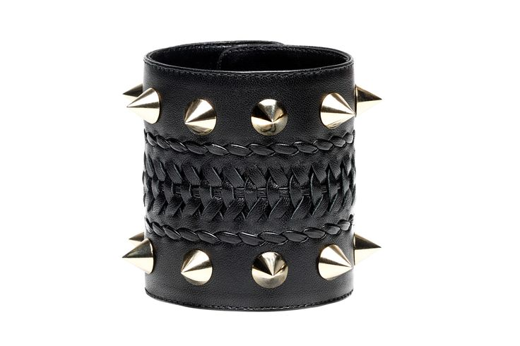 Claudia, hand woven leather bracelet with studs