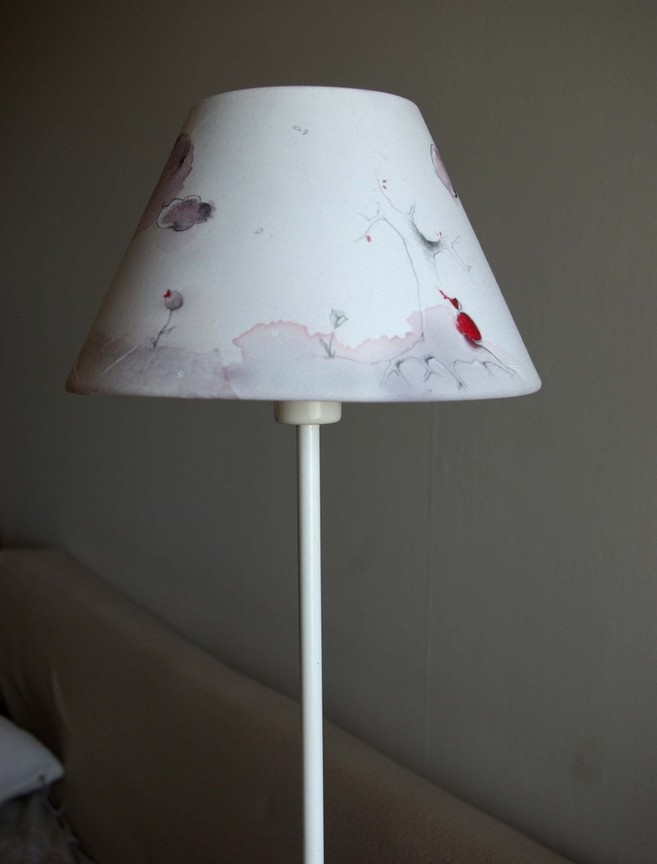 My Dreams available lampshade original painting. For kids room, bedroom or lounge. Poetic pastel touch