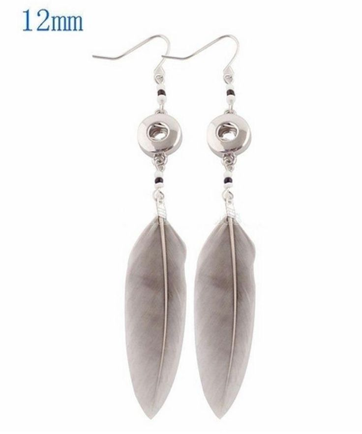 Silver Feather Beads 12mm Mini Petite Snap Earrings For Ginger Snaps Jewelry