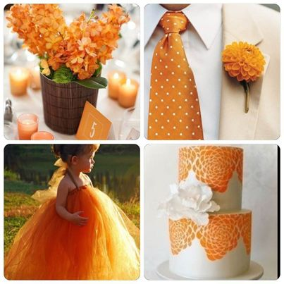 Decoraci n de boda en color naranja bodas deco ideas for Decoracion para pared naranja