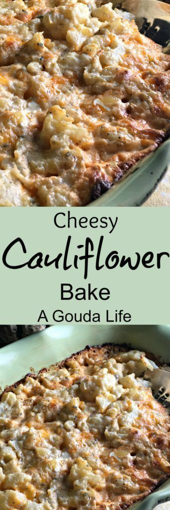 Cheesy Baked Cauliflower: tender cauliflower bites baked in a creamy cheesy sauce. All the decadence of mac and cheese, with the health benefits of a veggie.