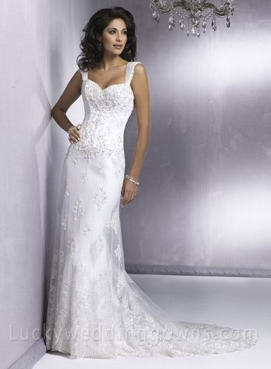 Sheath Strapless Cap Sleeve Satin Lace Wedding Dress