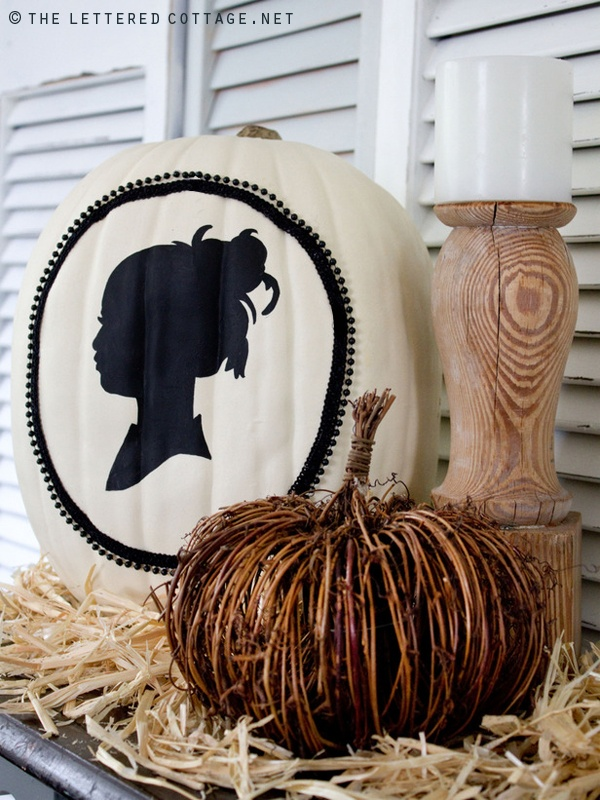 i saw this idea a few years back, i can't remember if it was in BH or Martha Stewart, but i always loved it's eerie halloween elegance - the victorian or colonial inspired silhouette... a Cameo pumpkin is a beautiful and fairly easy idea and definately not something you will see at everyone else's house. white pumpkin ideas. autumn fall pumpkin decorating ideas