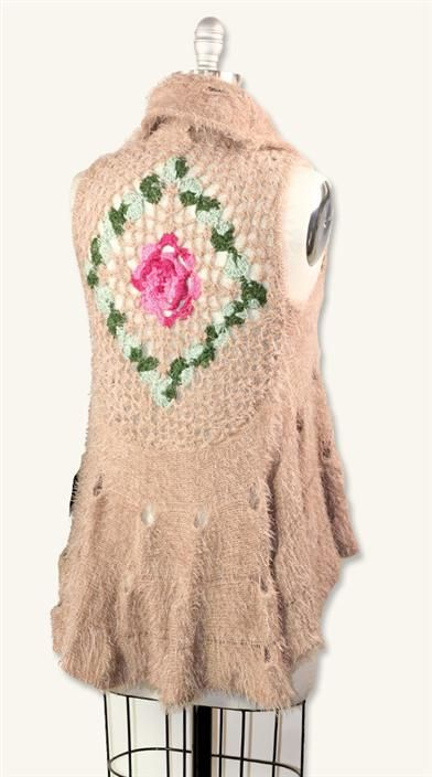 """""""Crocheted Roses"""" cream tea vest from Victorian Trading Co."""