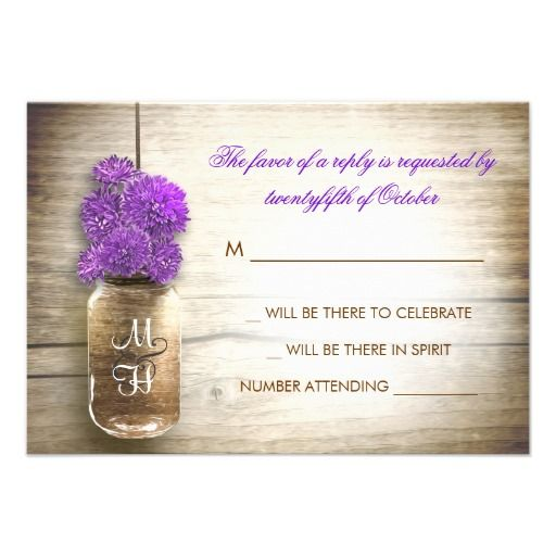beautiful rustic wedding RSVP - wedding reply cards with distressed wood background and mason jar with purple color flowers . I suggest a beautiful linen texture paper for this design.