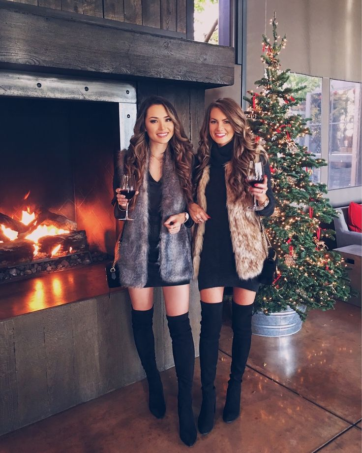 Fur vests, black dresses, and above the knee boot
