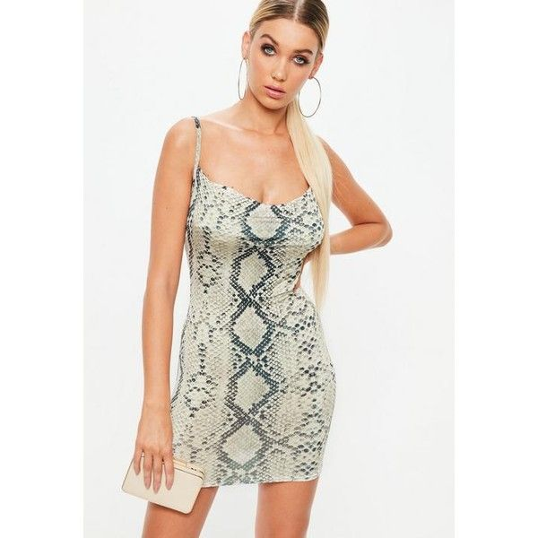 Missguided Petite  Snake Print Cowl Dress ($34) ❤ liked on Polyvore featuring dresses, beige, petite dresses, white cami, cowl neck mini dress, mini dress and short petite dresses