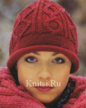 Шапка с ромбами. Вязание для женщин / Шапки и шарфы / Спицами