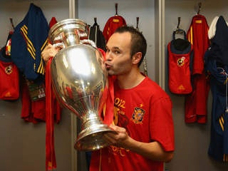 Andres Iniesta of Euro 2012 Champion Espana Celebrates the Win over Italy and being named Player of the Tournament