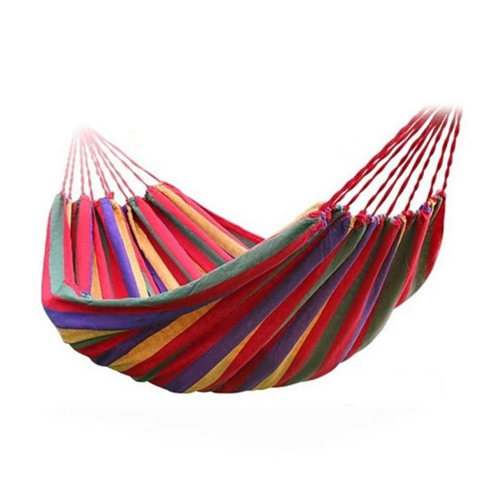 Portable Canvas Stripe Hammock Red Stripe Inficious Why Be Limited To A Perfectly Spaced Pair Of Trees This Double Ha Outdoor Hammock Garden Hammock Hammock
