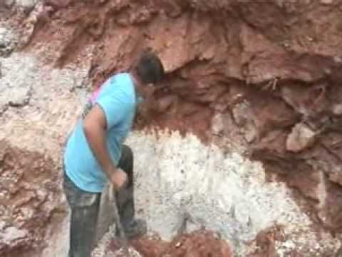 digging aquamarine beryl crystals in lagrange , Georgia
