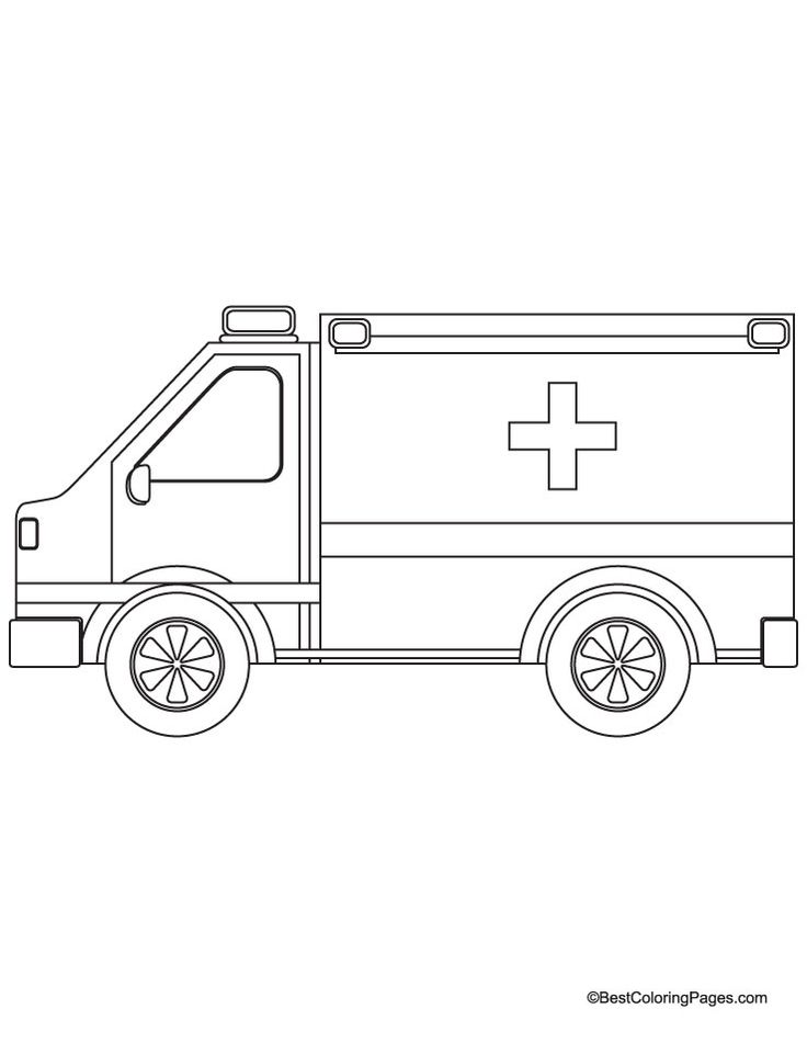 Car Themed Coloring Pages : Emergency ambulance jeep coloring page download free