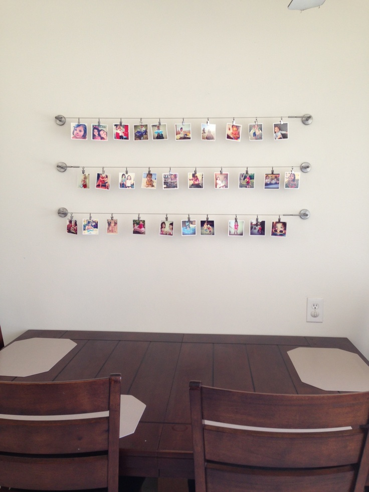 Hang Instagram Pictures From Ikea Wire Curtain Hangers