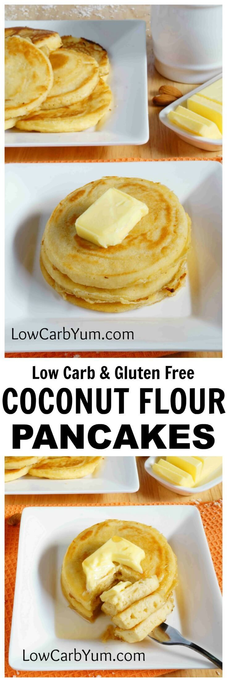 An easy recipe for fluffy gluten free coconut flour pancakes. Such a tasty breakfast treat! Enjoy them with your favorite low carb syrup or eat them plain.   LowCarbYum.com