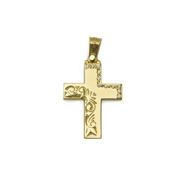 Μοντέρνος βαπτιστικός σταυρός για κορίτσι χρυσός Κ14 με λουστρέ επιφάνεια και λευκό σειρέ σταυρό | Βαπτιστικοί σταυροί ΤΣΑΛΔΑΡΗΣ στο Χαλάνδρι #τριάντος #βαπτιστικοί #σταυροί #κορίτσια