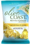 OLIVE COAST™ Capri Style Lemon Rosemary Kettle Cooked Potato Chips are cooked in 100% olive oil. Made with all-natural ingredients, you'll taste the delicious and authentic flavor of the Mediterranean in every bite.