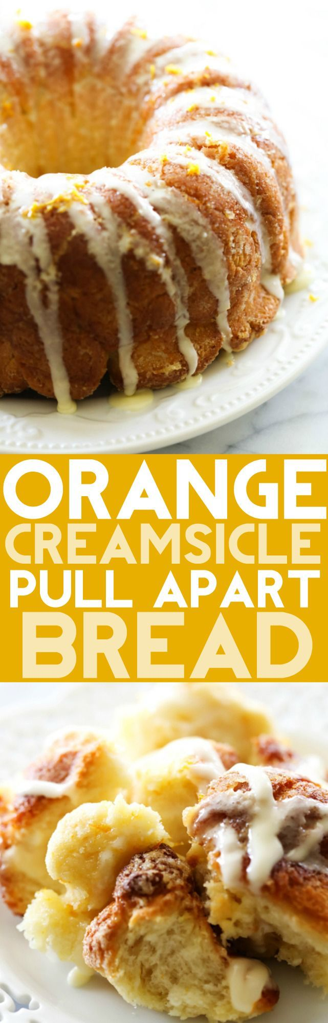 This Orange Creamsicle Pull Apart Bread is completely made from scratch. It tastes like orange rolls in the form of a delicious and fun breakfast or dessert! It has such a refreshing flavor and is the perfect spring or summertime treat!