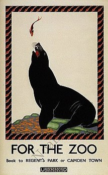 Vintage Seal Zoo travel poster reproduction.