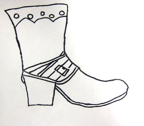 Contour line shoe drawings. 3rd and 4th