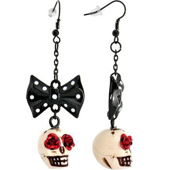 Sugar Skull Black Polka Dot Bow Dangle Earrings   Body Candy Body Jewelry #bodycandy #earrings #sugarskull