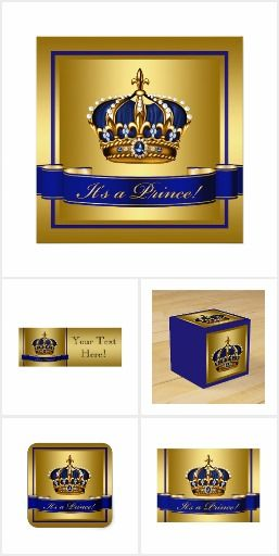 Prince Baby Shower Royal Blue Gold Crown Prince