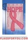 Pink Ribbon Hope Applique Garden Flag