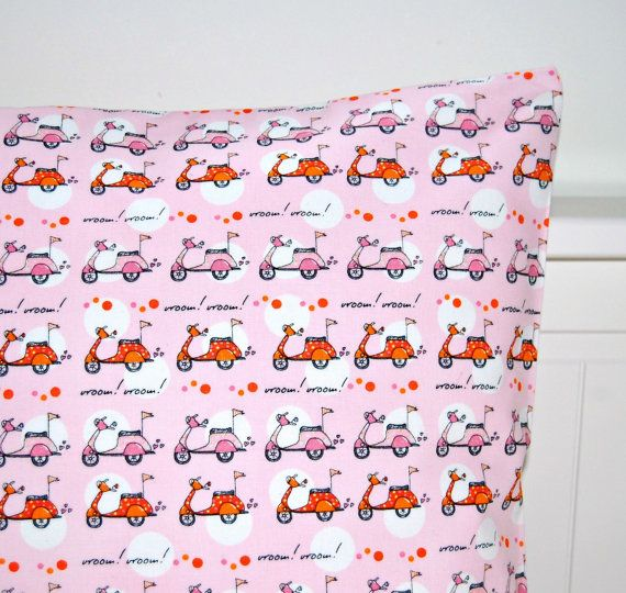 pink cushion cover girls vespa scooter pillow by LittleJoobieBoo, £14.00