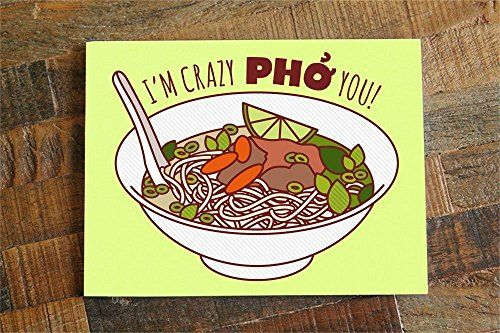 """1x Funny Love Card """"Crazy Pho You"""" - Pho Soup Pun Greeting Card, Funny Birthday Card, Anniversary or Valentine's Day, I Love You Card from TIny Bee Cards http://www.amazon.com/dp/B015X73H0E/ref=hnd_sw_r_pi_dp_coRmwb1DP84RB #handmadeatamazon. Funny Love Card """"Crazy Pho You"""" - Pho Soup Pun Greeting Card."""