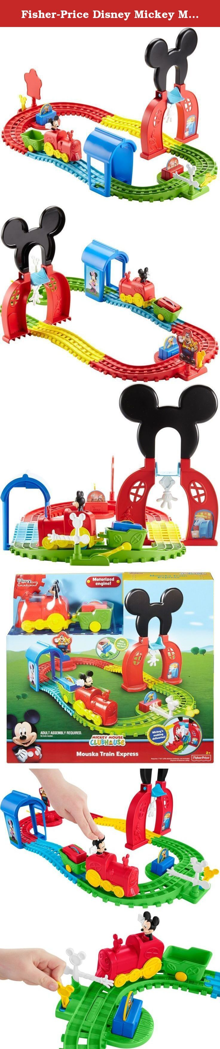 Fisher-Price Disney Mickey Mouse Clubhouse Mouska Train Express Playset. It's time for Mickey Mouse to climb aboard his motorized railway and make his deliveries to the Disney Mickey Mouse Clubhouse gang! Press Mickey's head to get his motorized engine started as he makes his way around his wacky track. As Mickey sets out on his adventure, he first has to get past pesky Pete, who is waiting around the bend. Then as he hits the handy hand, a package falls from the tower above and into the...