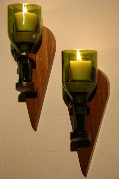 Wood Tear Drop .750 Wine Bottle Candle Wall Sconce - Lantern - Repurposed Bottle Sconce - Gift for Wine Lovers - Wine Bar Decor - Home Decor. $50.00, via Etsy.