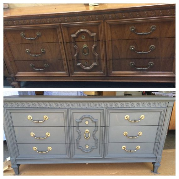 Gorgeous before and after of a long Bassett dresser with graphite chalk paint and polished brass hardware