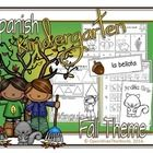 Spanish Dual Language Immersion fall-themed mini pack for Kindergarten. (Grade 1 in some Canadian provinces) No English on student pages!  This fal...