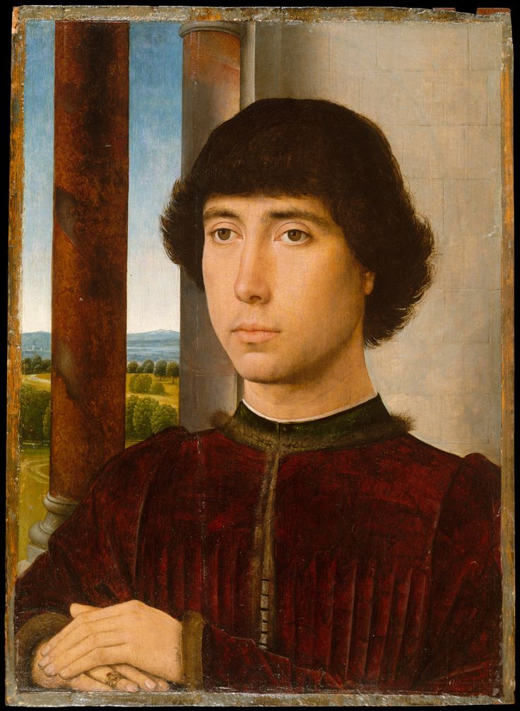 Portrait of a Young Man    Artist:Hans Memling (Netherlandish, Seligenstadt, active by 1465–died 1494 Bruges)  Date:ca. 1472–75  Medium:Oil on oak panel  Dimensions:Overall 15 3/4 x 11 3/8 in. (40 x 29 cm); painted surface 15 1/8 x 10 3/4 in. (38.3 x 27.3 cm)  MMA
