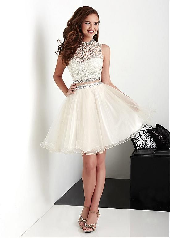 Fabulous Tulle & Stretch Satin High Collar Neckline A-Line Two-piece Homecoming Dresses With Lace Appliques