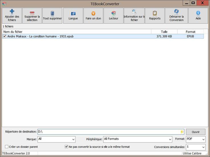 Convertir vos fichiers EPUB au format PDF pour votre liseuse Kindle / TEBookConverter fournit une interface d'une grande simplicité pour convertir vos fichiers EPUB au format PDF.