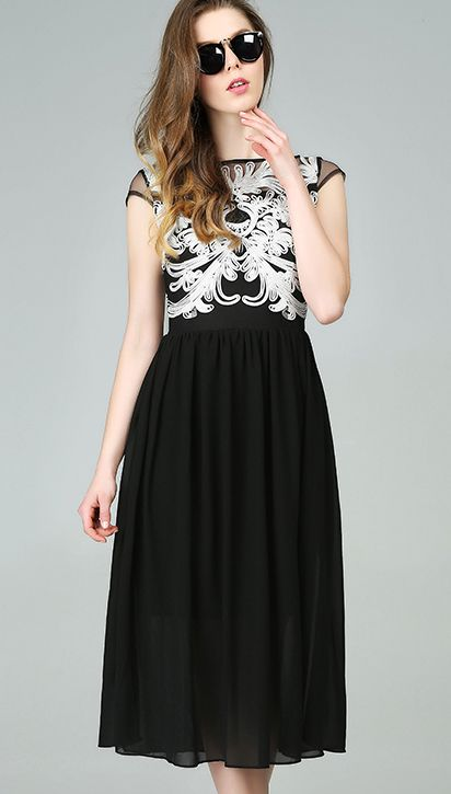 Black Contrast Gauze Embroidered Chiffon Dress