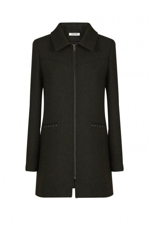 Manteau fermeture zip avec studs  vert kaki - droits femme - naf naf 90E