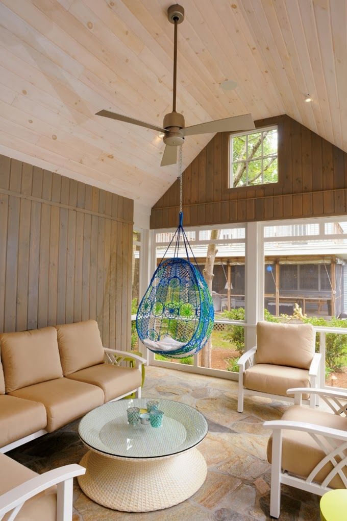 Tile on screened porch...and vaulted ceiling.  House of Turquoise: Burton Builders