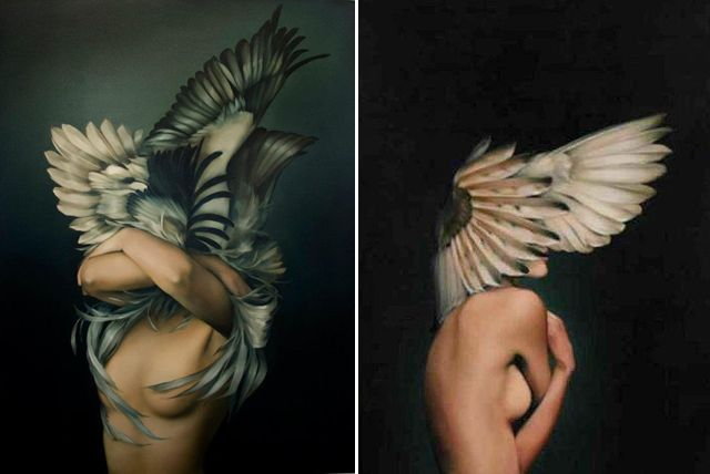 British artist Amy Judd's oil paintings, mostly of faceless figures, are absolutely enchanting. We especially love the works with feathers – they're so mysterious and captivating.