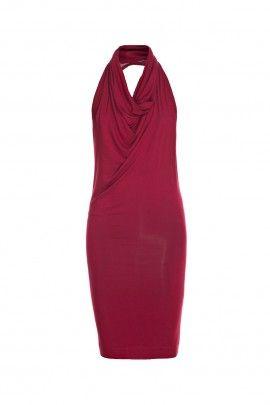 Sukienka bez pleców bordowa