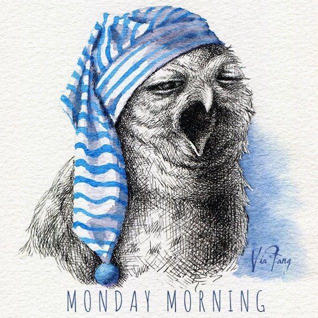 Monday Morning  憂鬱星期一 不甘願的心和我的睡衣一樣皺  文字 @fsbcfc  #owl #owlstagram #illustration #illustrator #illustagram #art #artwork #artist #artstagram #ink #watercolor #monday #mondaymorning #mondayblues #yawn #yawning #插畫 #handdrawn #去你的貓頭鷹畫展 #絵 #イラスト #フクロウ #viafang
