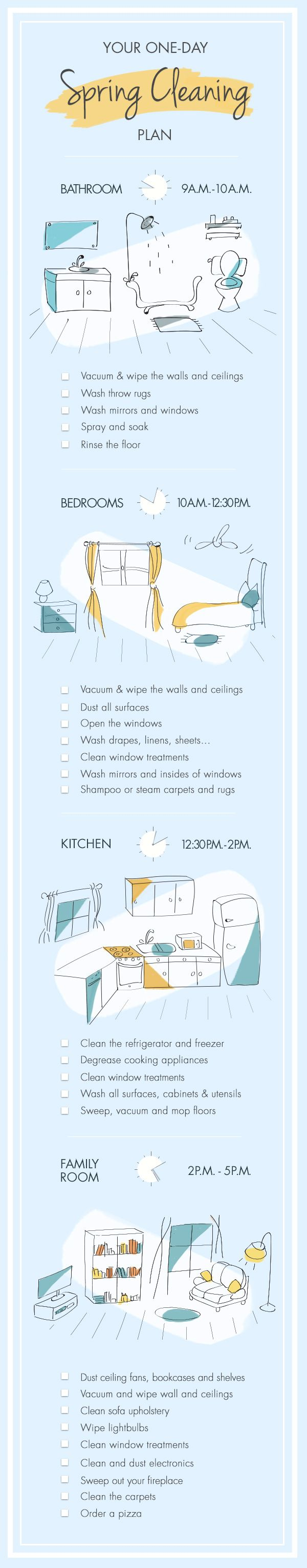 Spring cleaning doesn't have to take the entire weekend. Follow this spring cleaning checklist for the most efficient strategies to get your home sparkling, room by room. Your whole house will be refreshed and spruced up in 8 hours (yes, in a single day!)