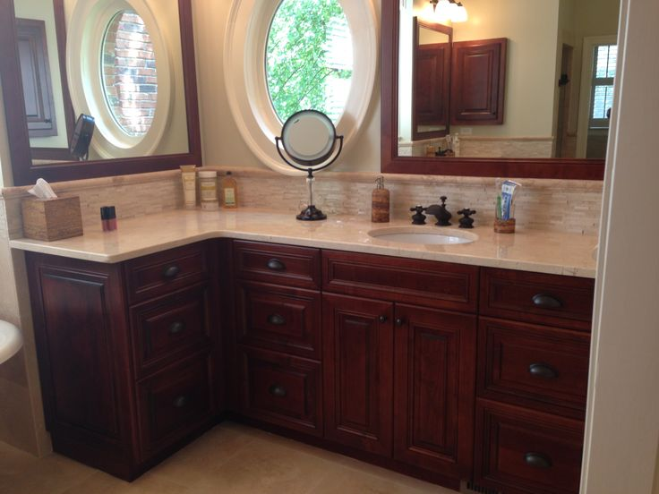 Cherry Mocha Cabinets With Crema Marfil Marble Master