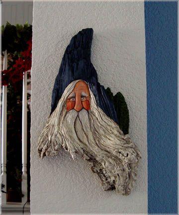 Painted driftwood Santa by Lisa Rogers... wonderful hand-painted bins ...