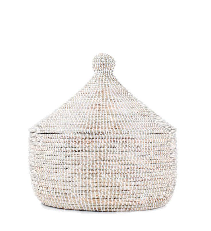 African Storage Basket - White
